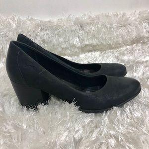 "BØC Black 2.5"" Thick Cushioned Leather Heels Sz 7"